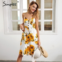 Simplee Strap V Neck Summer Dress Women Sunflower Print Backless Casual Dress Vestidos Smocking High Waist