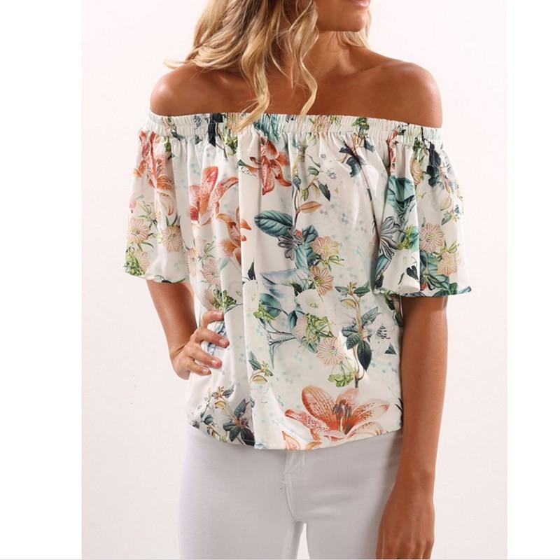 Sexy Slash Neck Women Tops Print Off Shoulder Beach Summer Style Tops Women Blouses Shirt Party Tube Top Women Clothing HO812921