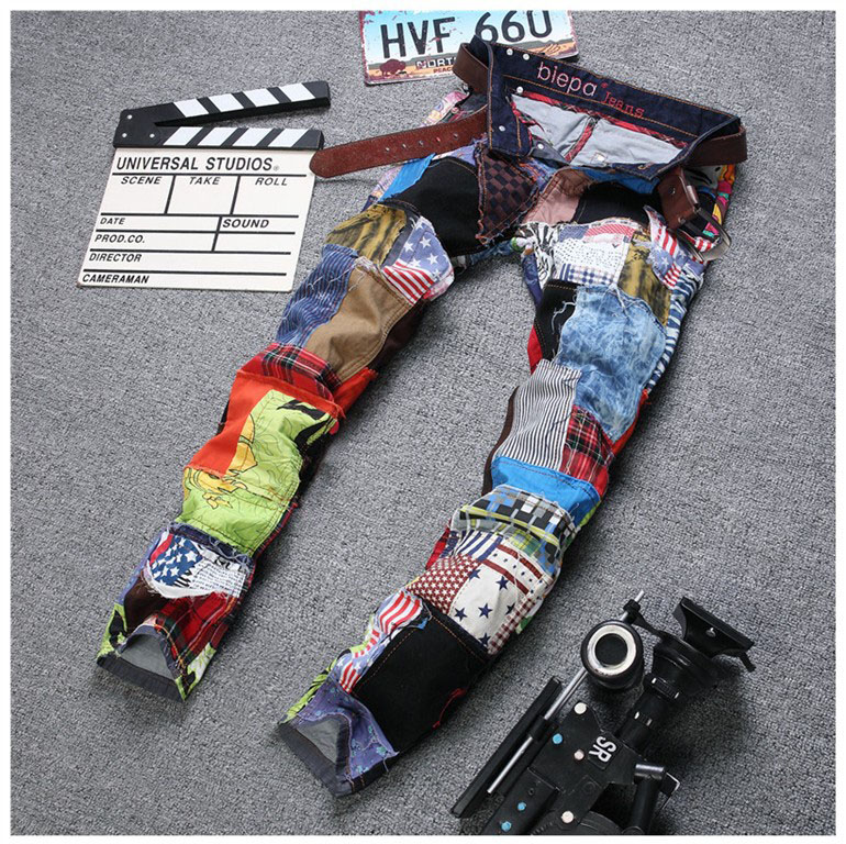 European American style fashion brand mens Patchwork jeans men denim trousers hip hop jeans luxury Slim Straight jeans for usa american flag printed jeans mens trousers white denim straight slim men jeans pants pantalons homme size 42