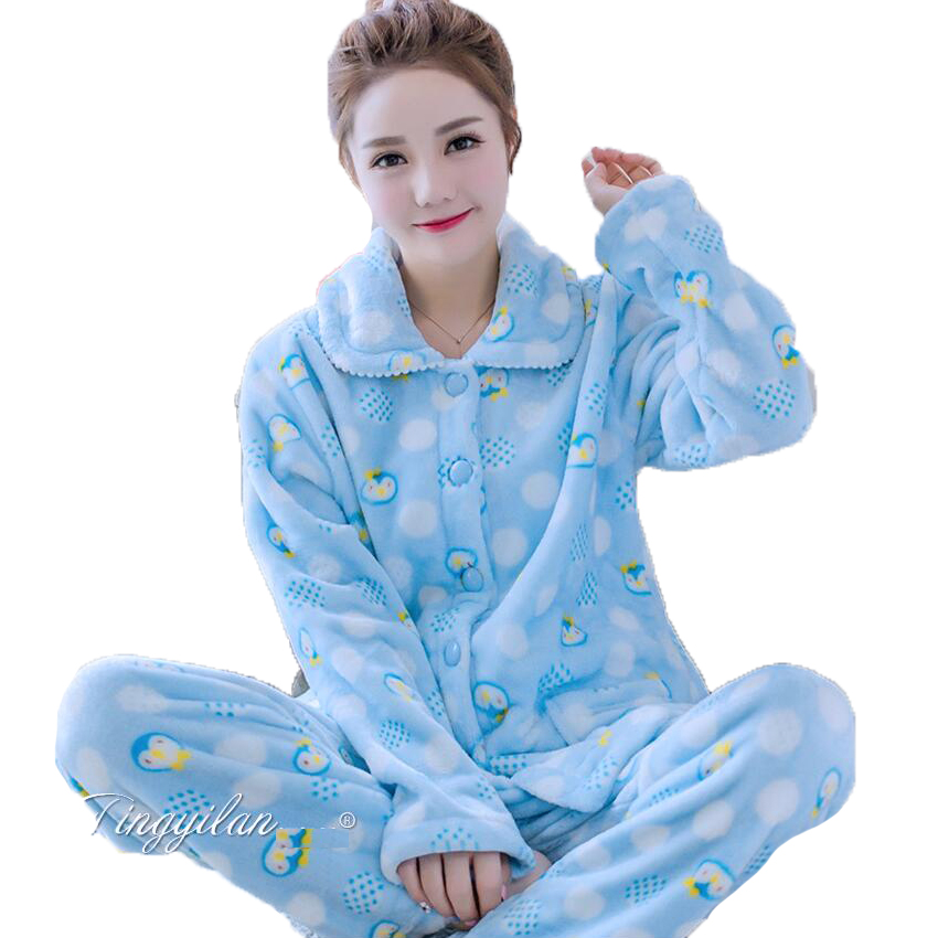 b96468bed3c093 Autumn Winter Women Sleepwear Pyjama Suit Thick Warm Cute Sleeping Clothes  Coral Fleece Pajamas For Women Pajama Set Homewear