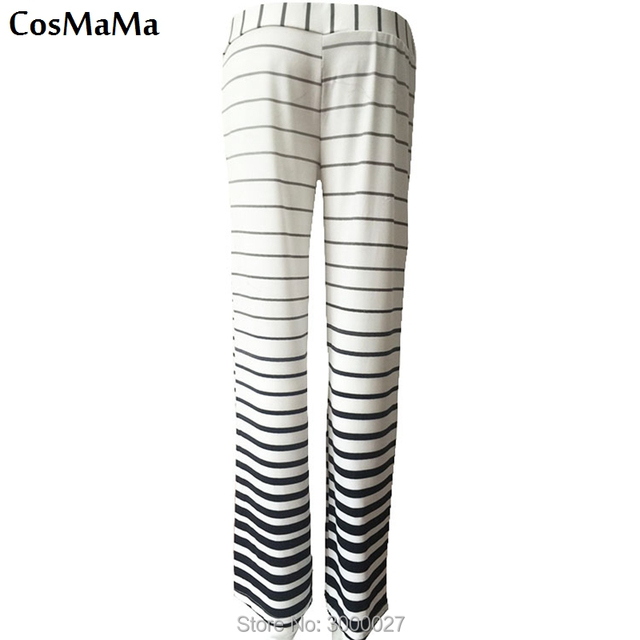 2017 new fashion cosmama sweatpants summer Zebra stripes casual flare culottes pants for women cotton white color trousers 4
