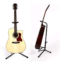 Black Collapsible Iron Tripod Guitar Stand With Protective Velveteen Rubber Padding For Electric Acoustic And Bass
