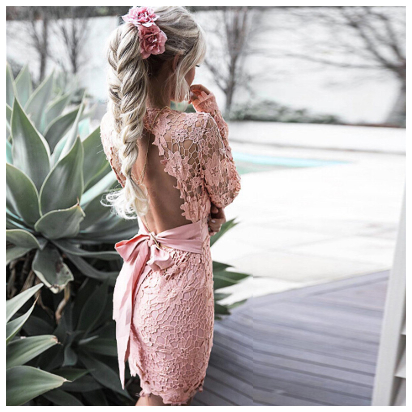 SNOWINSPRING Women Deep V neck Long Sleeve Lace Floral dress backless Mini Dress with bow belt Dresses Pink S US 4 UK 8 in Dresses from Women 39 s Clothing
