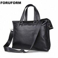 Luxury Brand Genuine Leather Briefcases Laptop Briefcase Business Zipper Brown Black Handbag Soft Cowhide Bag LI 1283