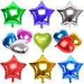 1 unids 18 inch Globo de la Hoja 10 Colores Estrella/en Forma de Corazón Globos de Cumpleaños/Año Nuevo/Partido de La Boda decoración Con Globos