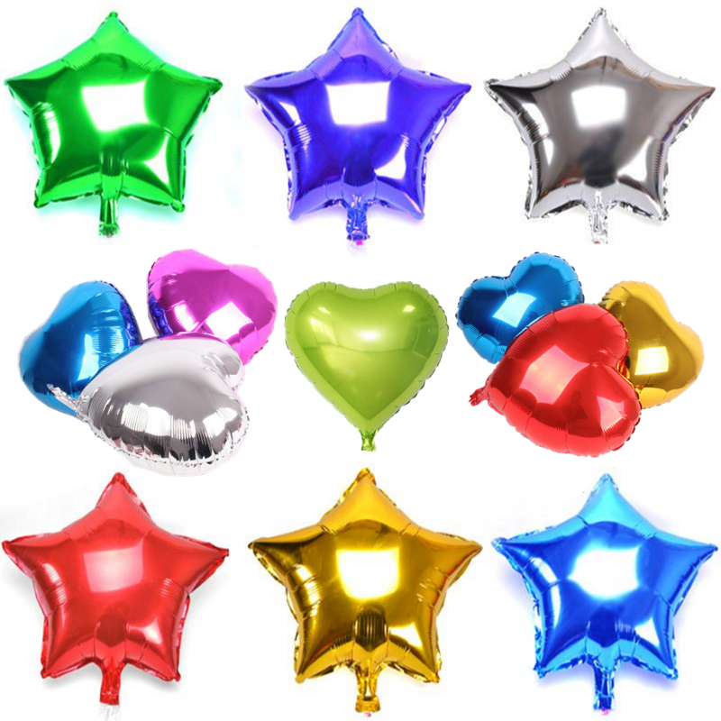 1pcs 18inch foil balloon 10 colors star heart shape for 7 star balloon decoration
