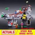 2016 nuevos guerreros lepin 07038 1165 unids super hero spiderman web puente de batalla modelo kit de construcción ladrillos bloque educativo del cabrito juguetes