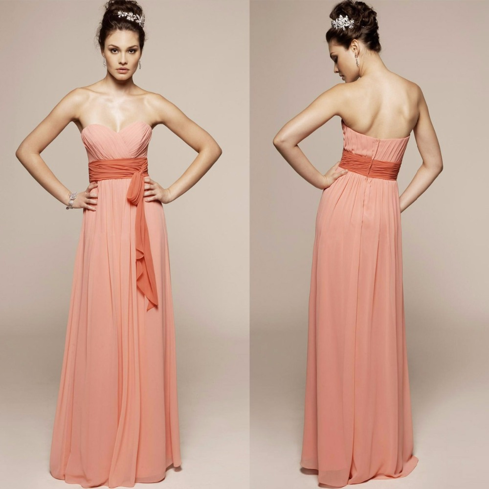 2015 new sweetheart long   bridesmaid     dresses   for weddings womans pink chiffon Sexy party gown vestidos para festa madrinha