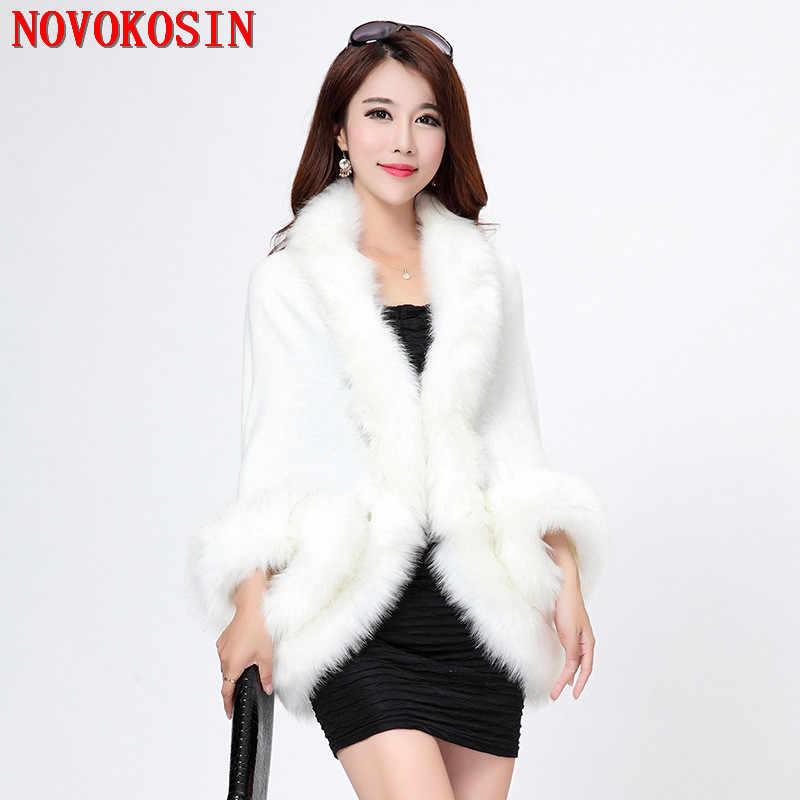 SC7 2018 искусственный Лисий меховой воротник теплая свободная зимняя шаль черный, белый цвет вязаный кардиган Новинки для женщин модная одежда с длинным рукавом отверстие плотное пончо