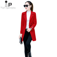 Winter Coat Women Wool Coat 2018 Korean Plus size Slim Elegant Long Jacket Overcoat Woolen Coats Pink Red Female Outerwear 3XL