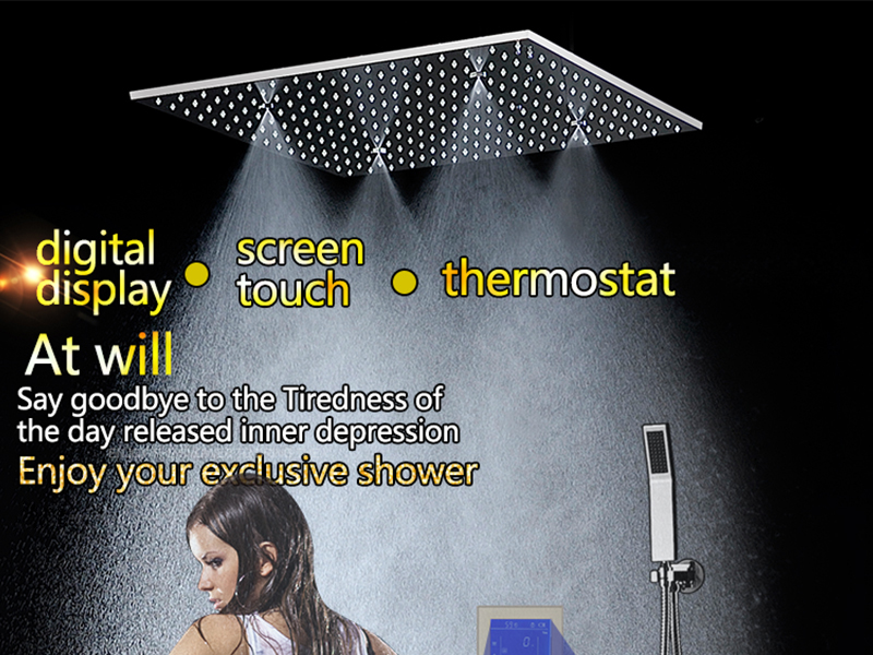 3Jets Intelligent Digital LCD Display Rain Shower Set Installed in Wall 20 SPA Mist Rainfall Thermostatic Touch Panel Shower (1)