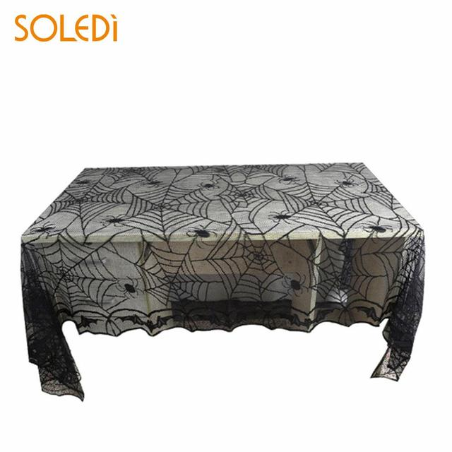 Exceptionnel 2018 Window Curtain Practical Halloween Black Lace Tablecloth Home  Decoration Black Buffet Table Fireplace Mantel Scarf