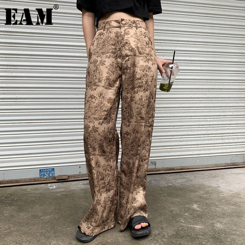 [EAM] High Elastic Waist Pleated Long Trousers New Loose Fit Wide Leg Pants Women Fashion Tide Spring Autumn 2019 1A917