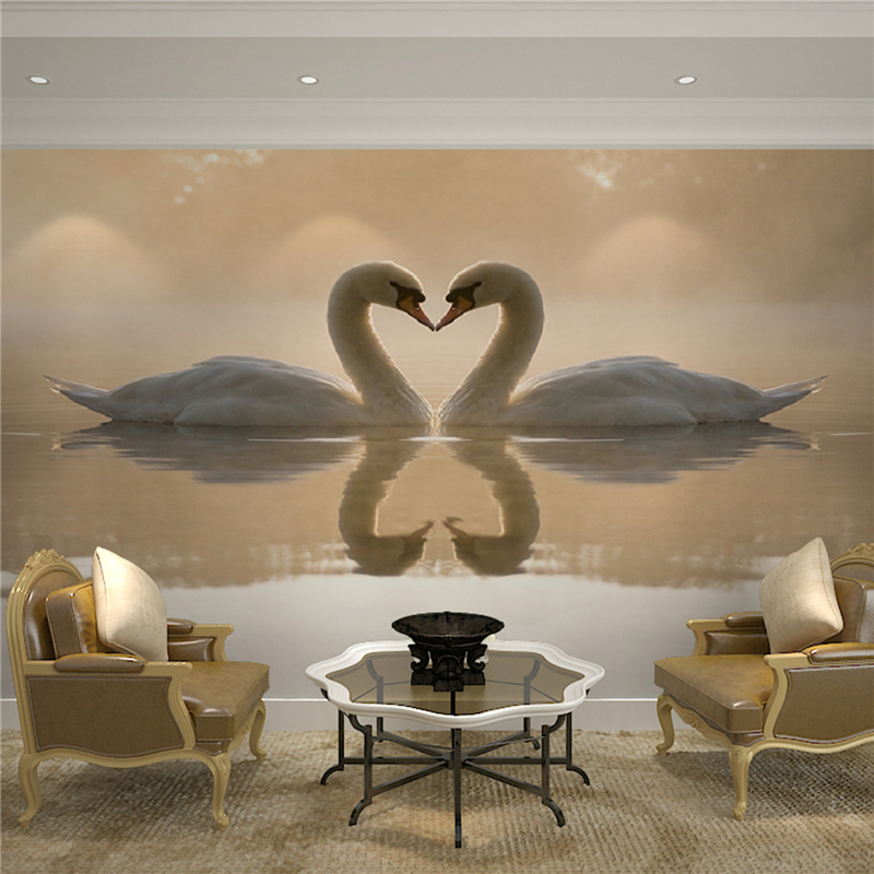 Living room bedroom TV backdrop wallpaper 3d stereoscopic large mural wall covering creative personality Continental Swan free shipping 100