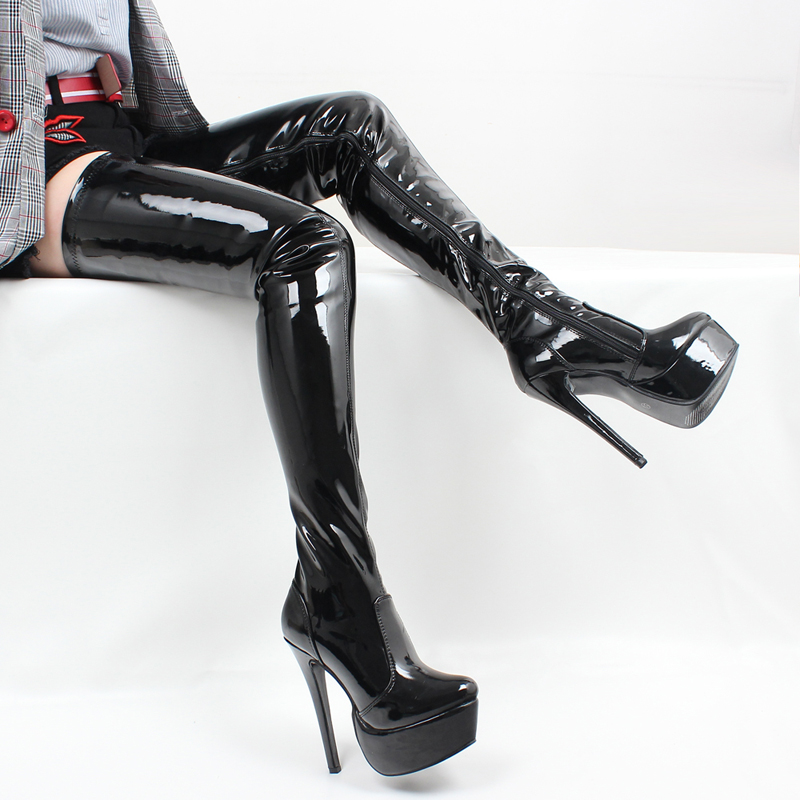 jialuowei Brand 16CM High Thin Heel Platform Boots Zipper Round Toe PU Leather Over the knee