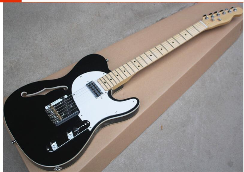 Top quality GYTL 2015 Black color white plate F JAZZ Hollow body maple fretboard telecaster Guitar