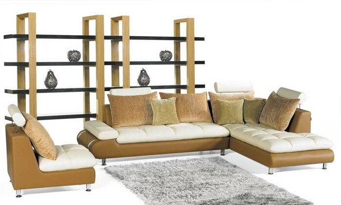 Бесплатная доставка Современный дизайн домашняя мебель Топ зернистый кожаный l образный диван для гостиной L616 2