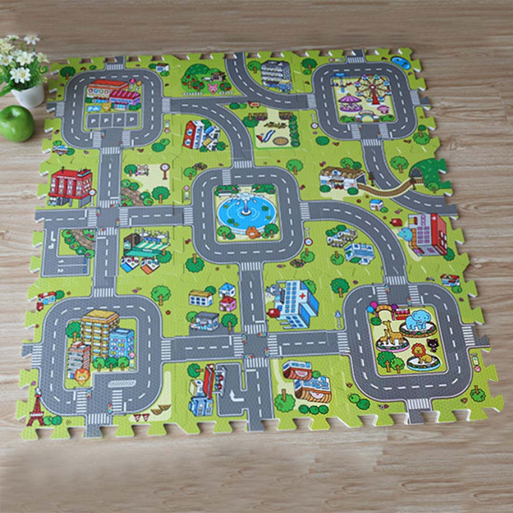 9Pcs/set Baby Puzzle Traffic Route Mat Newborn Baby Crawling Playmats Children Anti-slip Environmental Foam Pad Living Room Mats