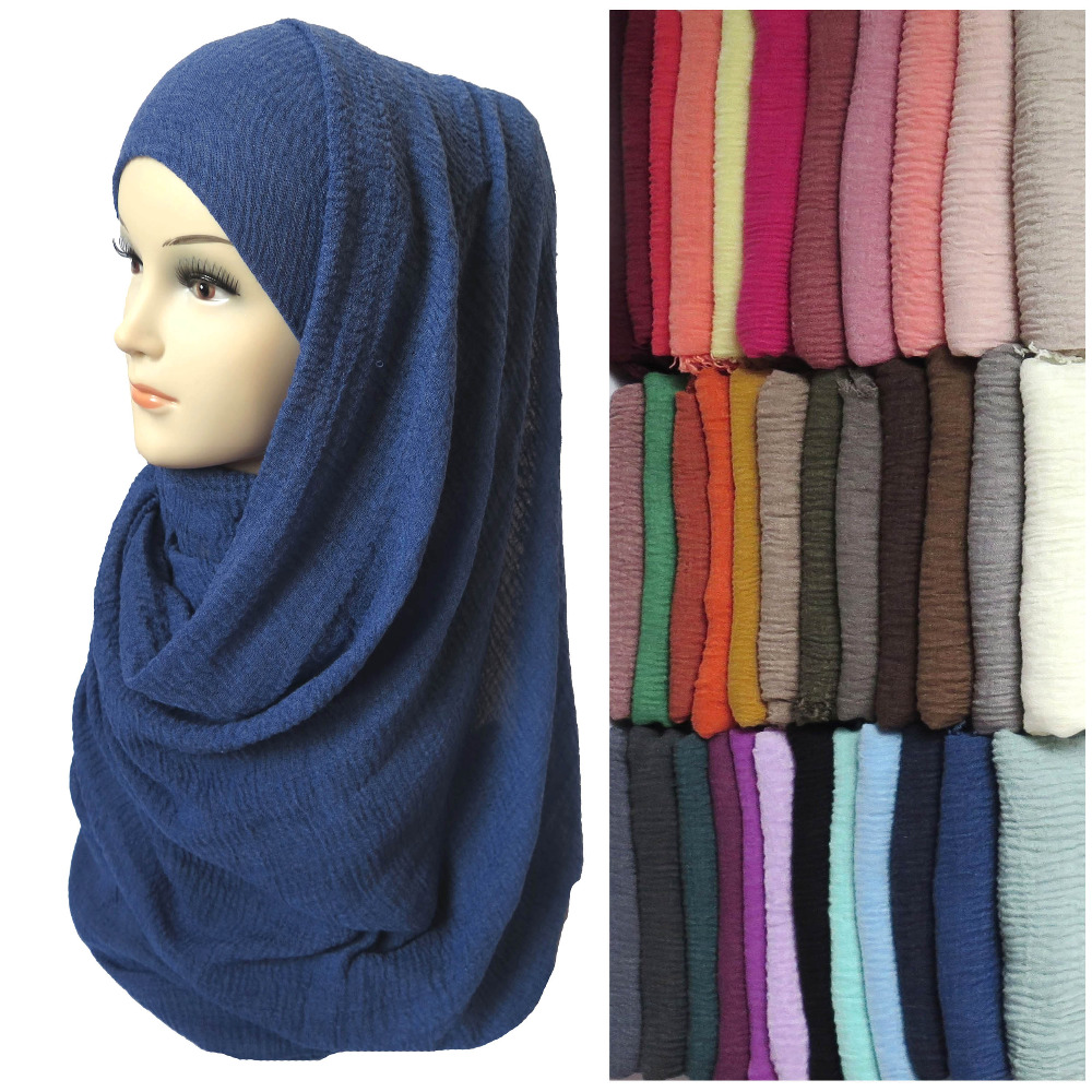 Women Maxi Bubble Crepe Crinkled Frayed Hijab Scarf Shawl Muslim Islamic Head Wrap Plain Solid Colors