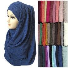 Phụ nữ Maxi Bong Bóng Crepe Nhăn Sờn Khăn Hijab Khăn Choàng Hồi Giáo Hồi Giáo Head Bọc Màu Sắc Đồng Bằng Rắn