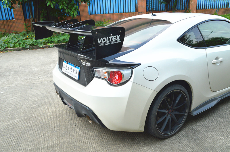 Universal Spoiler Wing For Most Cars Toyota Gt86 Brz Bba Etc Swan Neck Style Giant Trunk Black With Carbon Fiber Texture In Spoilers Wings From