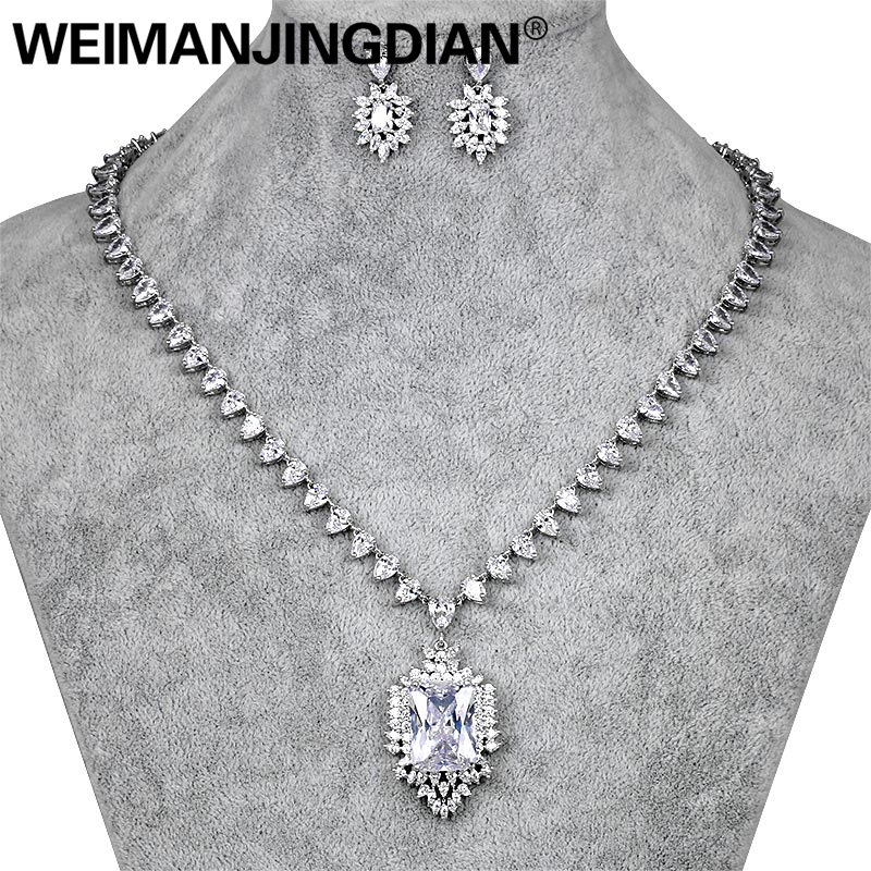 WEIMANJINGDIAN Assorted Colors Red Blue and Clear Cubic Zirconia Sparkling CZ Vintage Style Necklace Wedding Bridal Jewelry Set weimanjingdian red blue clear teardrop and flower cubic zirconia crystal necklace and earring set for wedding or party