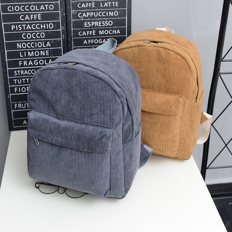 2017 Street Fashion Women Solid Corduroy Backpack Simple Preppy Style School Bags For Teenage Girls Shoulder Bag Travel Rucksack simple preppy style backpack women pu leather backpacks for teenage girls school bags fashion vintage solid shoulder bag black