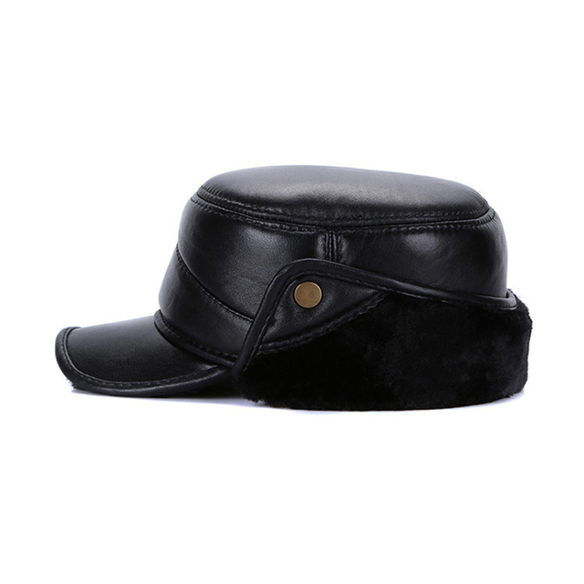 Men Real Genuine Sheepskin Leather Baseball Caps Quality Natural Real Leather Cap Winter Warm Real Sheep Leather Baseball Hat