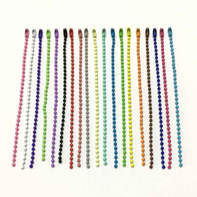 50Pcs/lot Colorful 2.4mm Metal Ball Bead Chains Ketting high quality stainless DIY accessories steel freeshipping