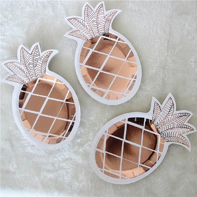 8pcs/Set Gold Foil Pineapple Disposable Tableware Party Paper Plates Paper Tableware Baby Shower Birthday Party Supplies