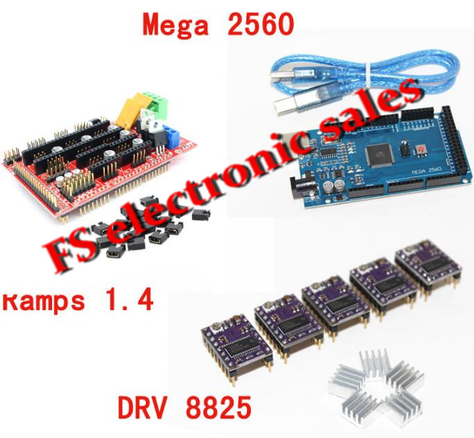 3D Printer 1pc Mega 2560 R3 + 1pc RAMPS 1.4 control panel+ 5pcs DRV8825 Stepper Motor Drive Carrier for 3D printer kit