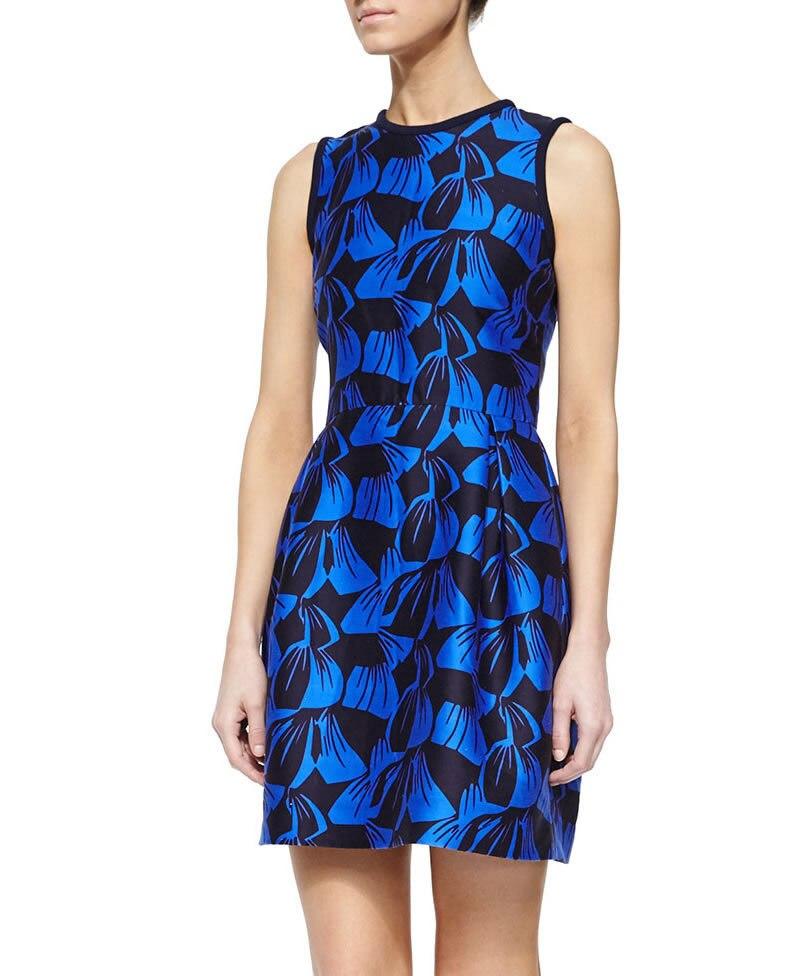 Luxe nouvelle mode feuille imprimer femmes Flare robe élégante o-cou mini robes décontractées