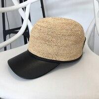 2018 New Women Baseball Caps Handmade Knitting Crochet Peaked Cap Female Equestrian Hat Summer Sun Hat Adjustable Breathable