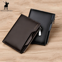 New   Wallet   Brand Short Men   Wallets   Genuine Leather Male Purse Card Holder   Wallet   Fashion Man Zipper   Wallet   Men Coin bag PL146