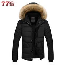 Бренд утолщение Теплая зимняя кофта пальто Для мужчин большой Размеры 4XL 5XL меха с капюшоном Повседневное парка куртки casacos masculino Утепленная одежда-20 'C