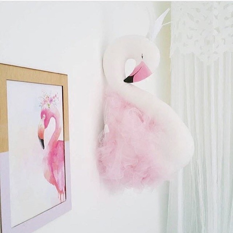 Cute Golden Crown Swan Wall Decor Doll Pink Princess Flamingo Soft Stuffed Toy Animal Head Wall Hanging For Kids Room Baby Gift #5