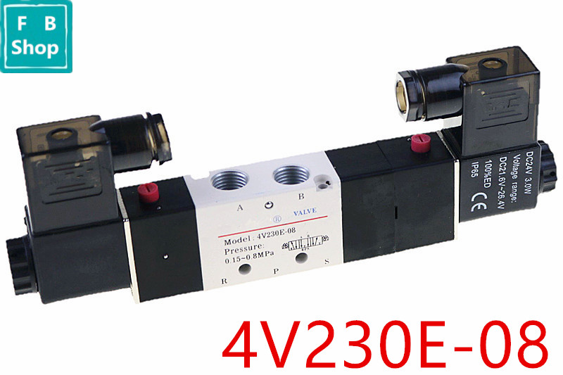 1PCS 4V230E-08 DC12V/DC24V/AC110V/AC220V 5Way 3Position 1/4 Central Exhaust Pneumatic Solenoid Valve1PCS 4V230E-08 DC12V/DC24V/AC110V/AC220V 5Way 3Position 1/4 Central Exhaust Pneumatic Solenoid Valve