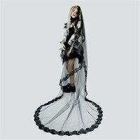 2019 New Long Black Cathedral Wedding Veils For Brides 3 m Appliques edge Bridal Lace Veil Voile Longue Noir Halloween Costume