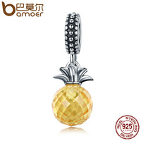 BAMOER Hot Sale 925 Sterling Silver Summer Yellow Crystal Pineapple CZ Charm Beads Fit Charm Bracelet