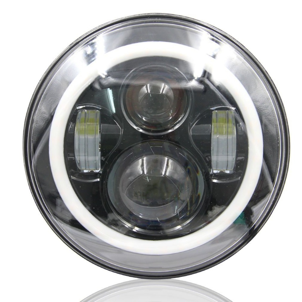 1Pair White Halo with White 7LED Headlight H4 High/low Lumen Auto Headlight 7inch Headlight Led With Angle Eye For JK Wrangler 12v led light auto headlamp h1 h3 h7 9005 9004 9007 h4 h15 car led headlight bulb 30w high single dual beam white light