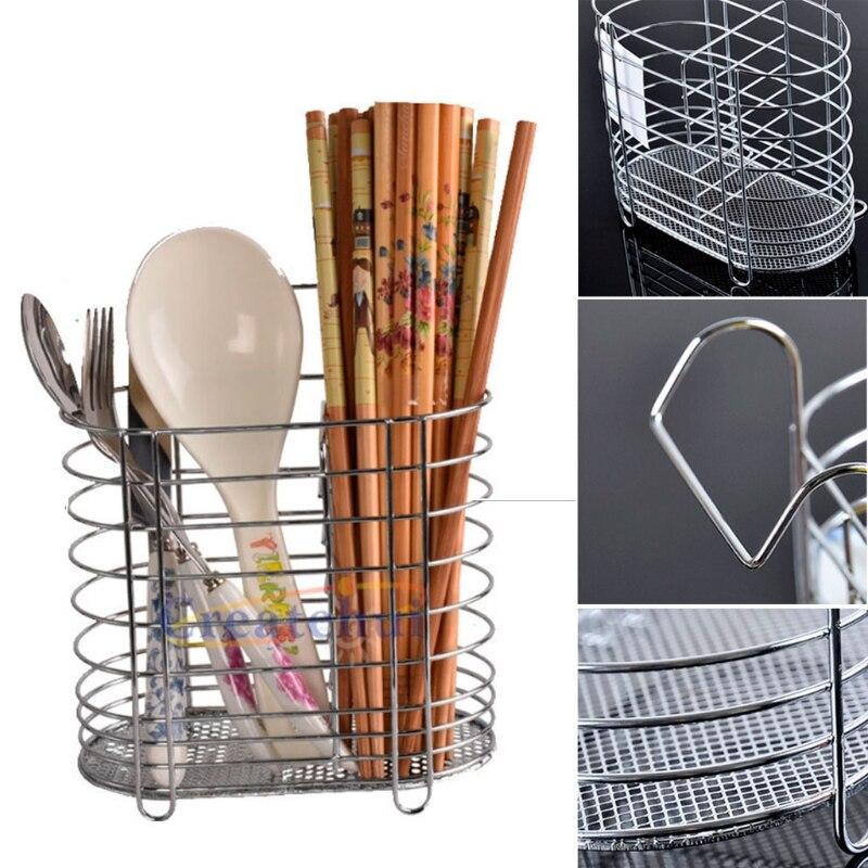 Metal Hanging Cutlery Holder Drainer Spoon Fork Chopsticks Storage Basket Rack Kitchen Accessories Tool Organizer Tableware Tube