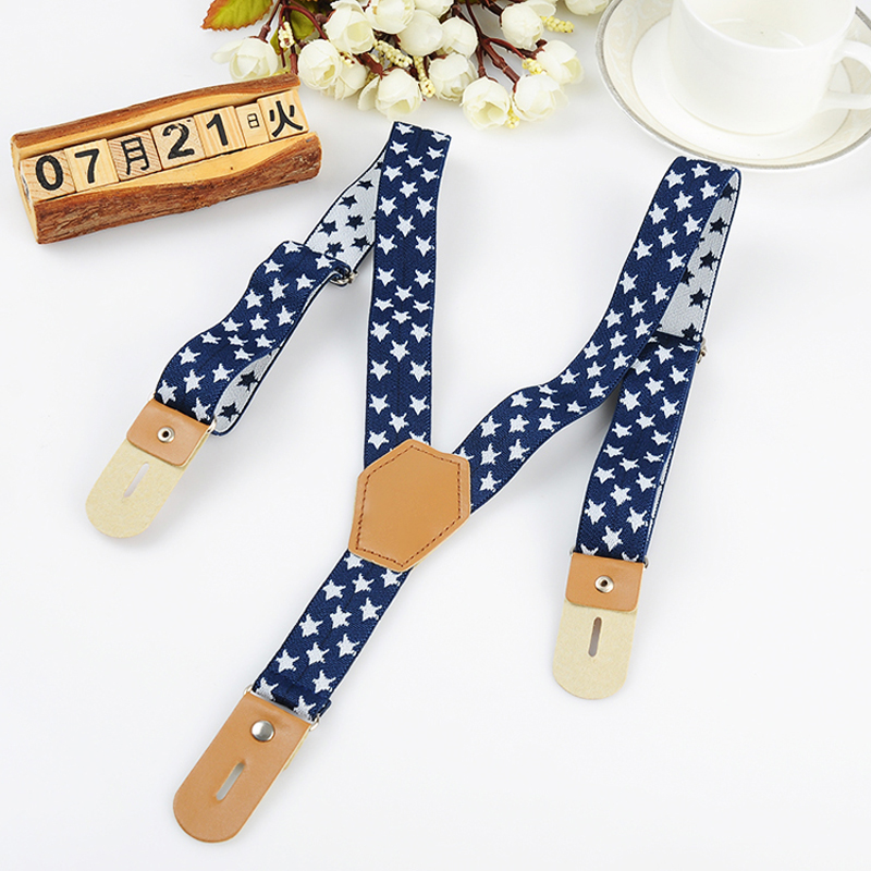 Fashion Kid Buttons Suspenders Stars Elastic Adjustable Baby Buttons Braces Tirantes Bretelles Width:2.5cm Length:65cm