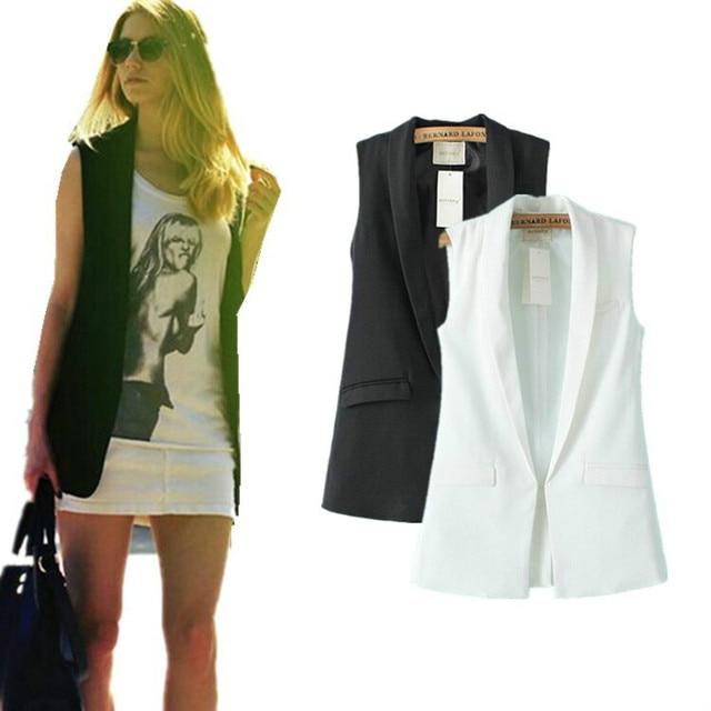 820907b635 Mulheres senhora elegante do escritório blazers casaco preto sem mangas coletes  jaqueta feminina outwear outono Colete