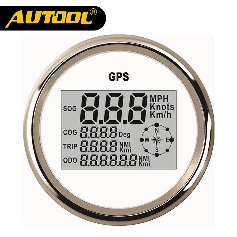 AUTOOL 85mm GPS Digital Speedometer Odometer Stainless Steel Waterproof Digital Gauge Car Truck Boat Motorcycle 12V/24V