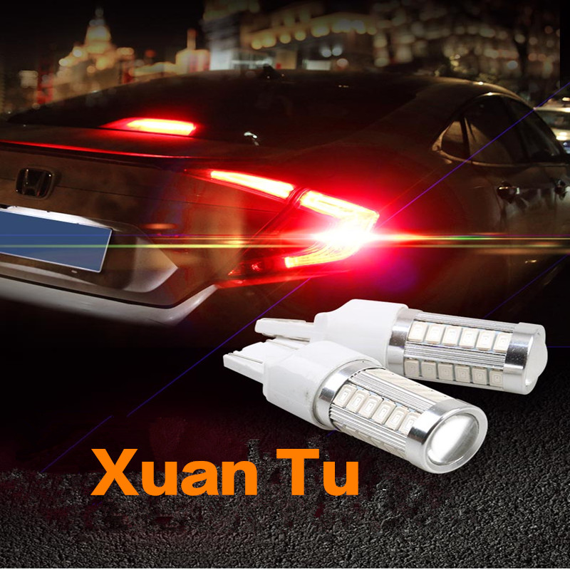 2pcs High Power Max 10w 33LED T20 Bulbs For Turn Signal Lights, Tail Lights, Brake Lights, Brilliant red white yellow