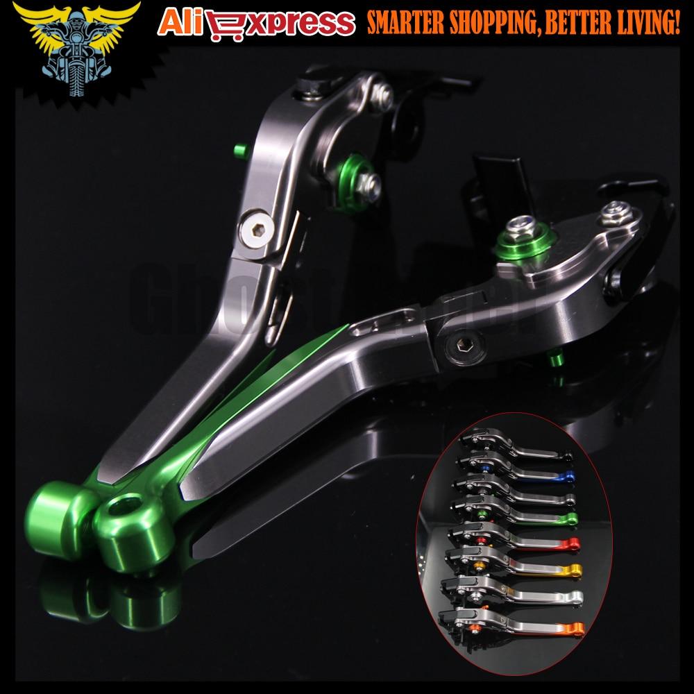 Green+Titanium  Adjustable Folding Extendable Motorcycle Brake Clutch Levers For Kawasaki NINJA 650R/ER-6F/ER-6N 2006 2007 2008