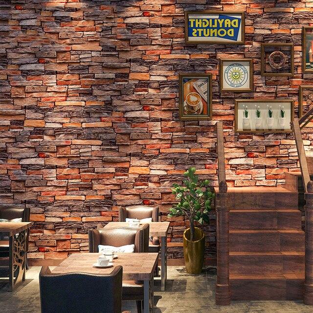 1aa0c0a26 Auto Adesivo Papel de Parede 3D Imitação Tijolo Adesivos de Parede Sala de  estar Restaurante Café
