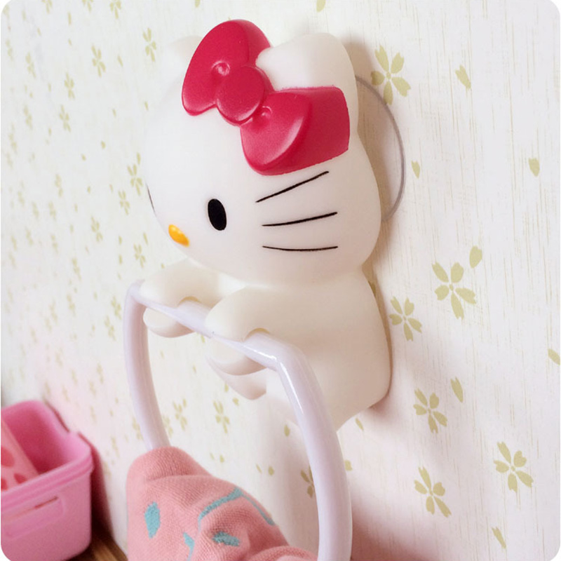 Cute Hello Kitty Strength Seamless Wall Suction Hanger Towels