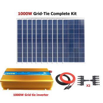 10*100W Poly Grid Solar Panels with 1000W Grid Tie Inverter Complete 1000W Grid Tie solar System Kit фото