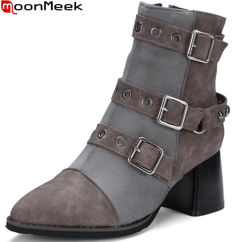 MoonMeek fashion women boots black gray pointed toe zipper ladies autumn winter boots buckle square heel ankle boots plus size moonmeek 2018 fashion autumn winter new